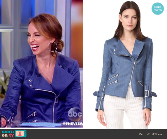 Sienna Collarless Moto Jacket by Veronica Beard worn by Jedediah Bila on The View