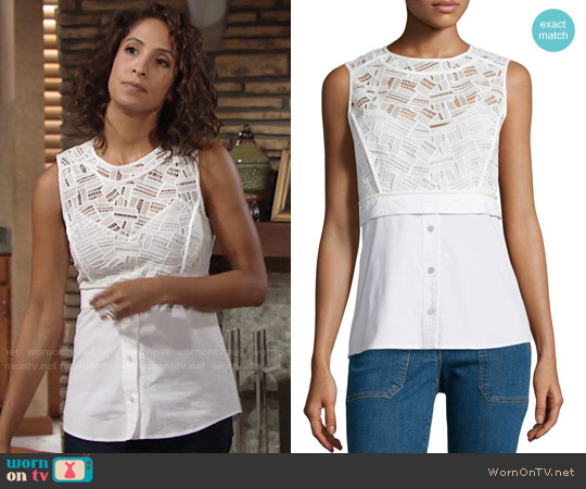 Veronica Beard Lace Shirting Combo Top worn by Christel Khalil on The Young & the Restless