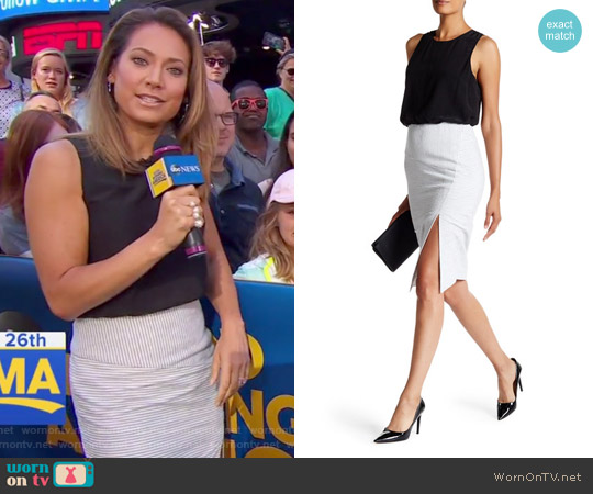 Laguna Silk Combo Twofer Dress by Veronica Beard worn by Ginger Zee (Ginger Zee) on Good Morning America