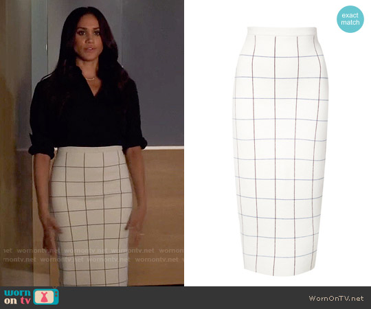 Victoria Beckham Grid Knit Pencil Skirt worn by Meghan Markle on Suits