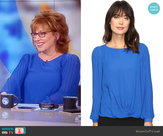 Pleated Sleeve Fold-Over Blouse by Vince Camuto worn by Joy Behar on The View