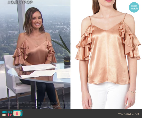 Contemporary Satin Cold Shoulder Ruffle Tank by WAYF worn by Catt Sadler  on E! News