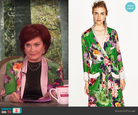 Long Floral Kimono by Zara worn by Sharon Osbourne on The Talk