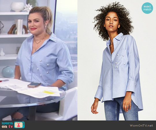 Oxford Shirt with Faux Pearl Details by Zara worn by Carissa Loethen Culiner on E! News