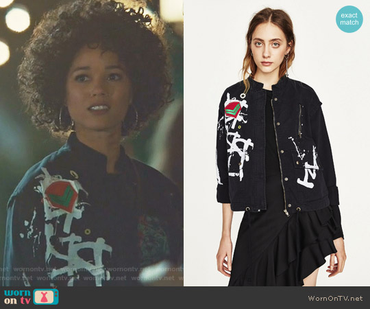 Printed Parka by Zara worn by Alisha Wainwright  on Shadowhunters