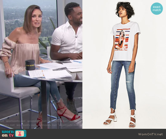 Ripped Mid Ride Jeans by Zara worn by Catt Sadler on E! News