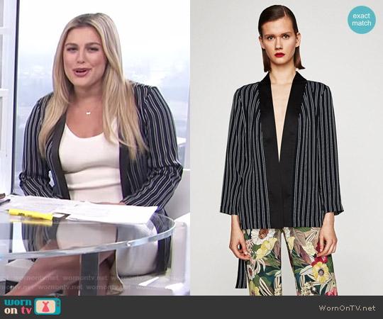 Striped Satin Kimono by Zara worn by Carissa Loethen Culiner on E! News