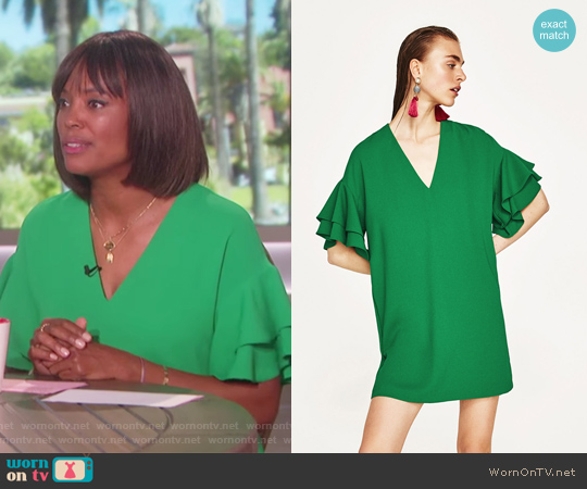Frilled Sleeve Dress by Zara worn by Aisha Tyler on The Talk