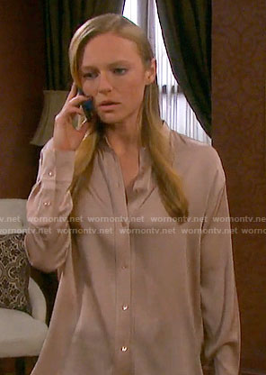 Abby's beige button front blouse on Days of our Lives