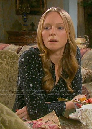 Abby's black star print dress on Days of our Lives