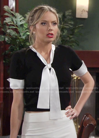 Abby's black top with white tie neck on The Young and the Restless