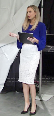Abby's blue bell-sleeve top and white lace pencil skirt on The Young and the Restless