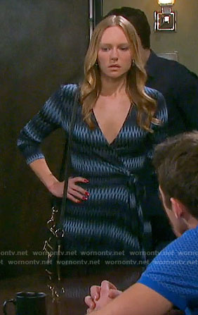 Abby's chevron striped wrap dress on Days of our Lives