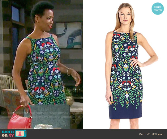 Adrianna Papell Sleeveless Printed Sheath Dress worn by Vanessa Williams on Days of our Lives