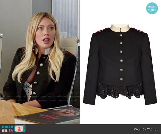 Alexander McQueen Ruffled-hem Military Jacket worn by Hilary Duff on Younger