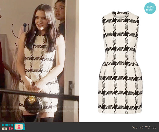 Alexander McQueen Houndstooth tweed mini dress worn by Katie Stevens on The Bold Type