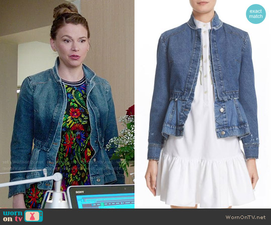 Alexander McQueen Denim Peplum Jacket worn by Liza Miller on Younger