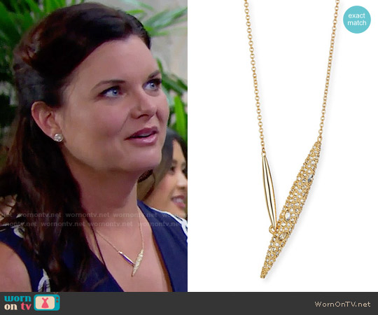 Alexis Bittar Crystal-Encrusted Modernist Spear Necklace worn by Katie Logan on The Bold & the Beautiful
