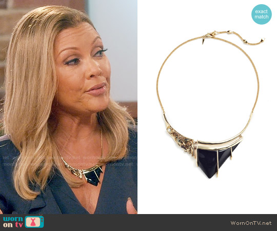 Alexis Bittar Crystal-Studded Lucite Bib Necklace worn by Vanessa Williams on Daytime Divas