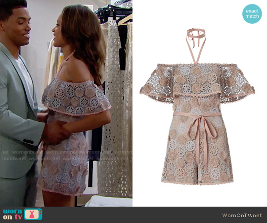 Alexis Boriana Romper worn by Nicole Avant (Reign Edwards) on The Bold & the Beautiful