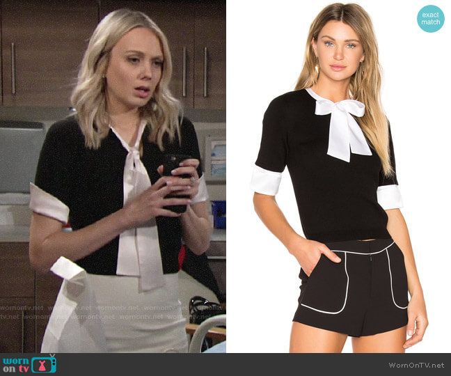 Alice + Olivia Ciel Top worn by Abby Newman (Melissa Ordway) on The Young & the Restless