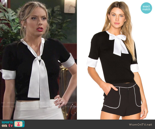 Alice + Olivia Ciel Top worn by Melissa Ordway on The Young & the Restless