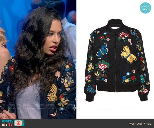 Alice + Olivia Felisa Bomber Jacket worn by Chloe Bridges on Daytime Divas