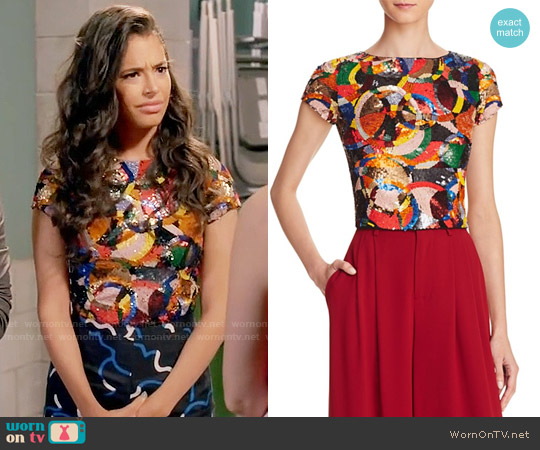 Alice + Olivia Kelli Sequin Top worn by Chloe Bridges on Daytime Divas