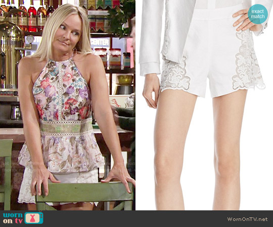 Alice + Olivia Marisa Shorts worn by Sharon Case on The Young & the Restless
