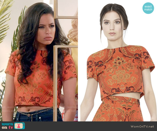 Alice + Olivia Sarina Crop Top worn by Kibby Ainsley (Chloe Bridges) on Daytime Divas