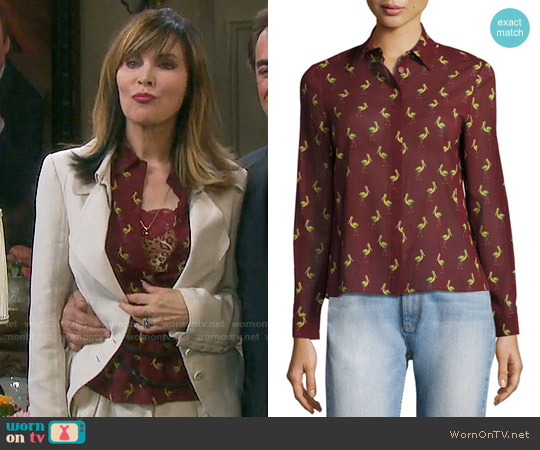 Alice + Olivia Willa Shirt in Pelican Paradise worn by Lauren Koslow on Days of our Lives
