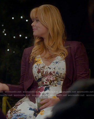 Ali's white floral v-neck dress and purple suede jacket on Pretty Little Liars
