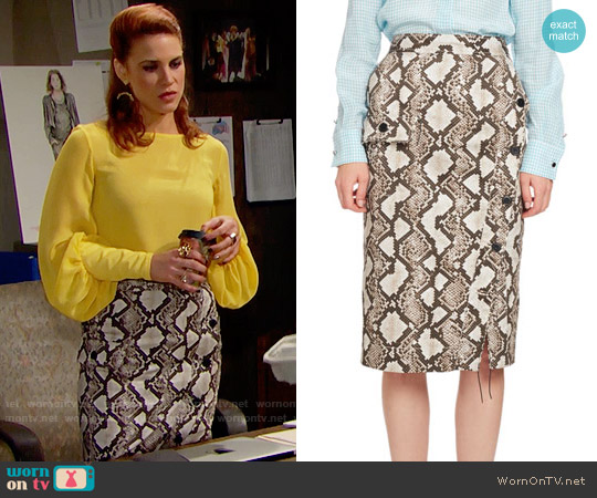 Altuzarra Curry Python-Print Pencil Skirt worn by Sally Spectra on The Bold & the Beautiful