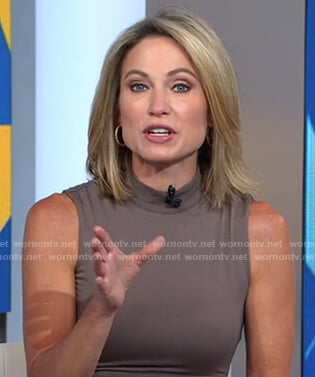 Amy's grey mock neck sleeveless dress on Good Morning America