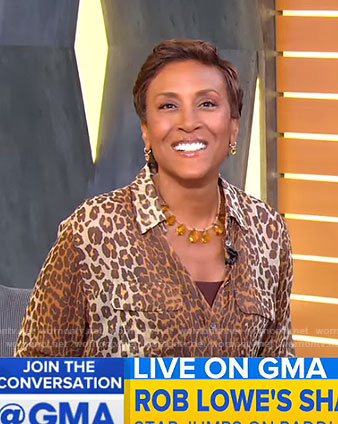 Robin's animal print blouse on Good Morning America