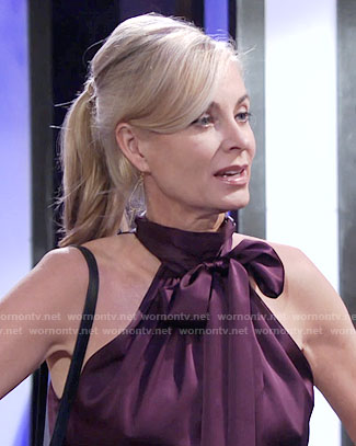 Ashley's purple tie-neck top on The Young and the Restless