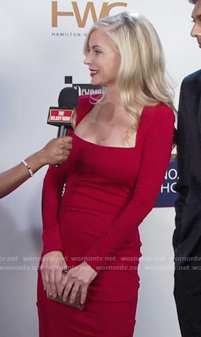 Ashley's red square neck gown on The Young and the Restless