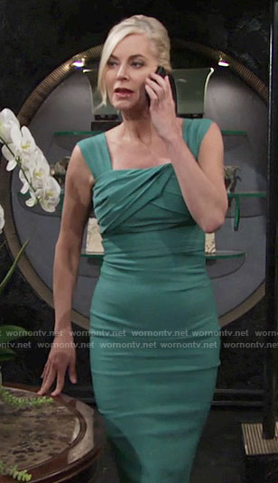 Ashley's teal green square neck sheath dress on The Young and the Restless