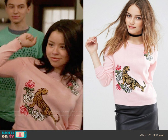ASOS Tiger Sweater with Floral Embroidery worn by Cierra Ramirez on The Fosters