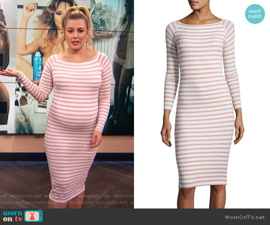 Modal Rib Long-Sleeve Striped Dress by ATM Anthony Thomas Melillo worn by Carissa Loethen Culiner on E! News
