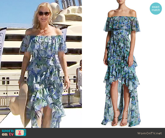 Badgley Mischka Off-the-Shoulder Tiered Floral Chiffon High-Low Gown worn by Katherine Kelly Lang on The Bold & the Beautiful