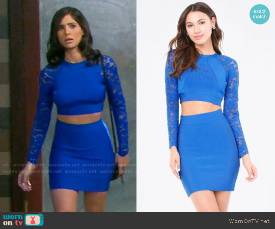 Bebe x Naven Lace Sleeve Crop Top and Knit Skirt worn by Gabi Hernandez (Camila Banus) on Days of our Lives