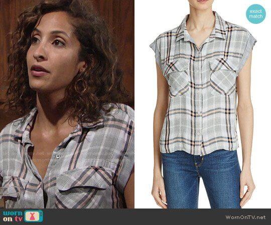 Bella Dahl Flap Pocket Plaid Crop Shirt worn by Lily Winters (Christel Khalil) on The Young & the Restless