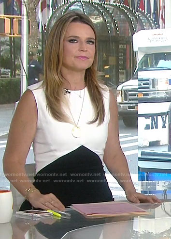 Savannah's black and white color-block dress on Today