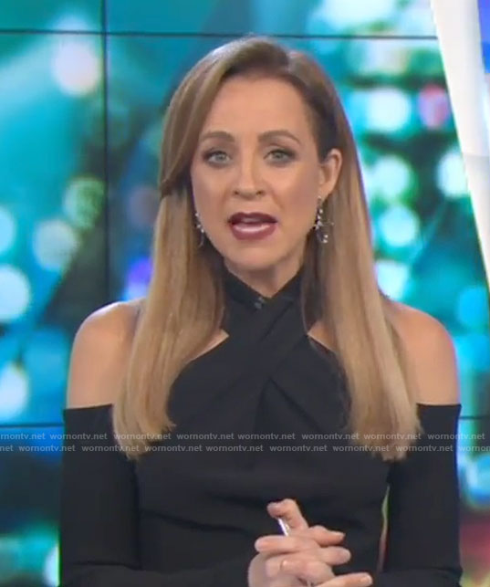 Carrie's black crossed neck dress on The Project