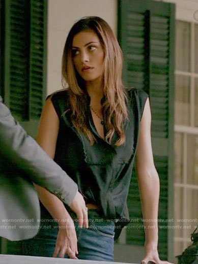 Hayley's black draped blouse on The Originals