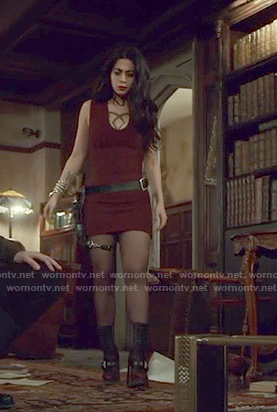 Isabelle's red ribbed mini dress and boots on Shadowhunters