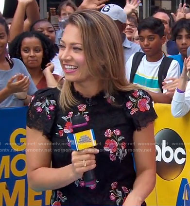 Ginger's black floral embroidered top on Good Morning America
