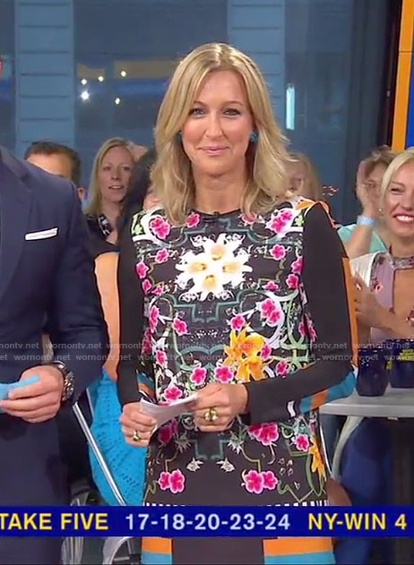 Lara's black floral long sleeve mini dress on Good Morning America