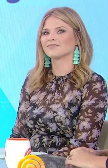 Jenna's black floral tiered dress on Today